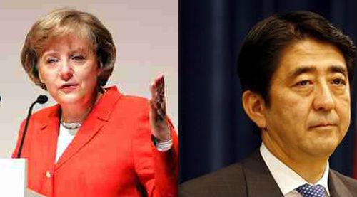 독일 메르켈 총리와 일본 아베 총리