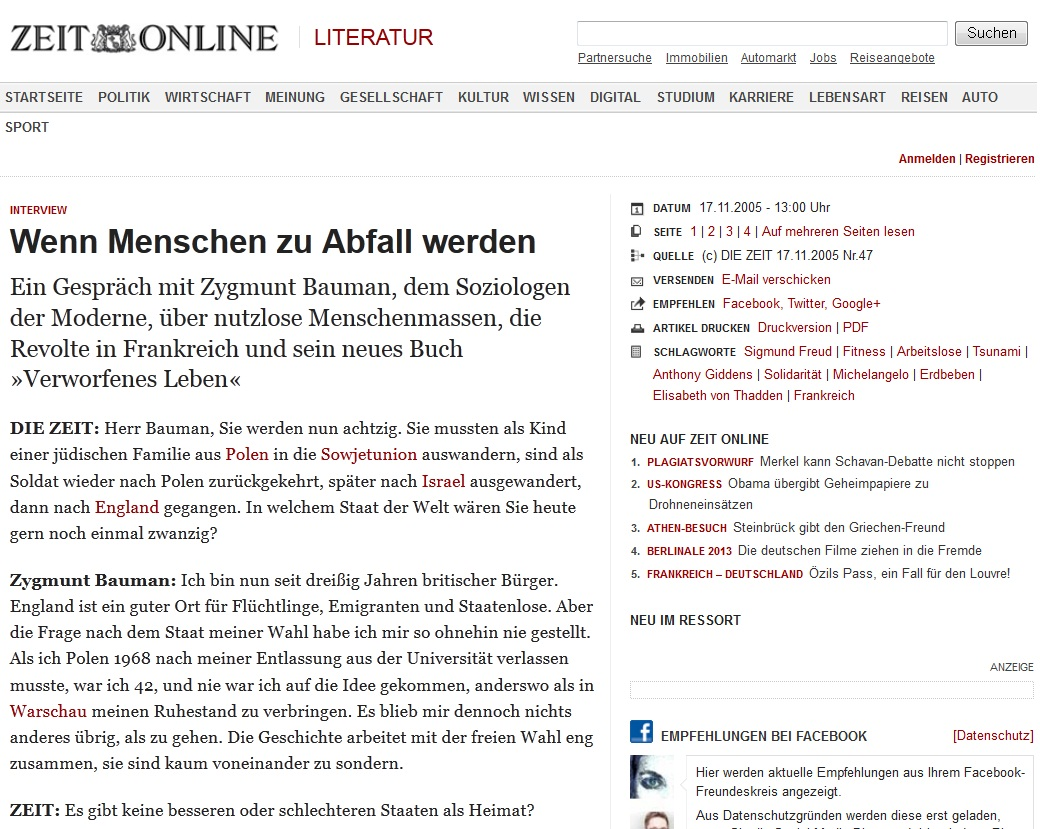 [Die Zeit] 지그문트 바우만 인터뷰 - 인간이 ..