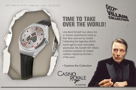 스와치 007 악당 컬렉션 : 카지노 로얄 시계