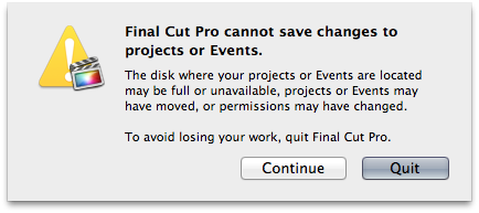 FCP X Cannot save to projects or Events?!