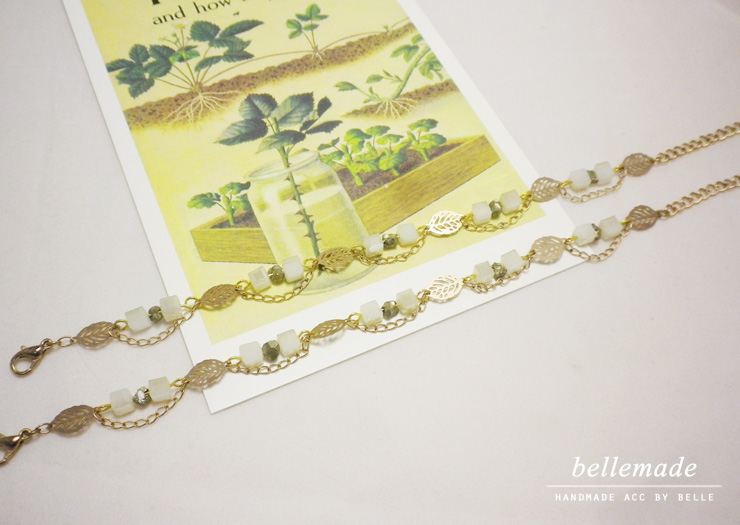 Marie * 크리스탈 큐브 나뭇잎 팔찌