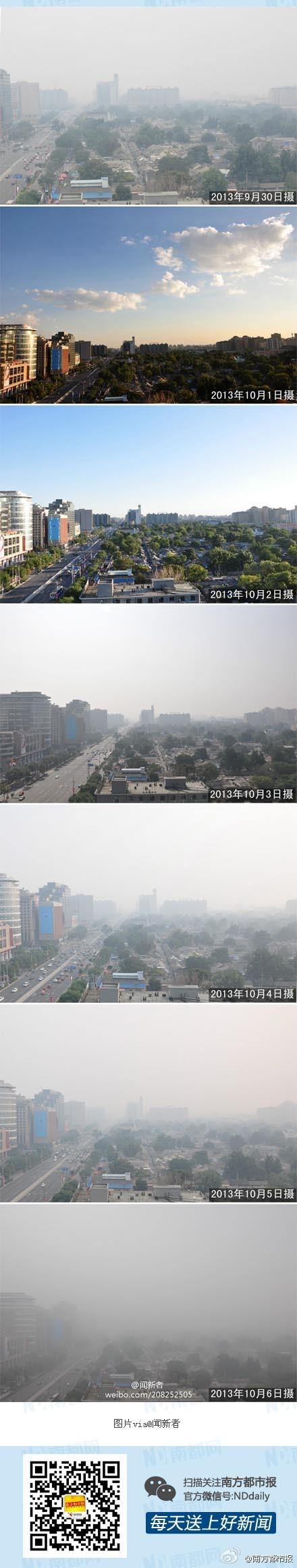 중국 북경의 국경절 연휴 하늘모습