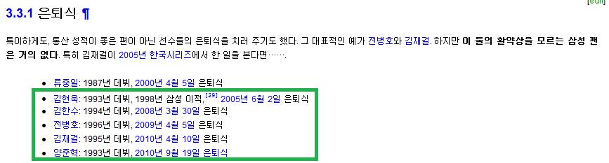 삼성 라이온즈 은퇴식 치룬 선수는 총 6명..