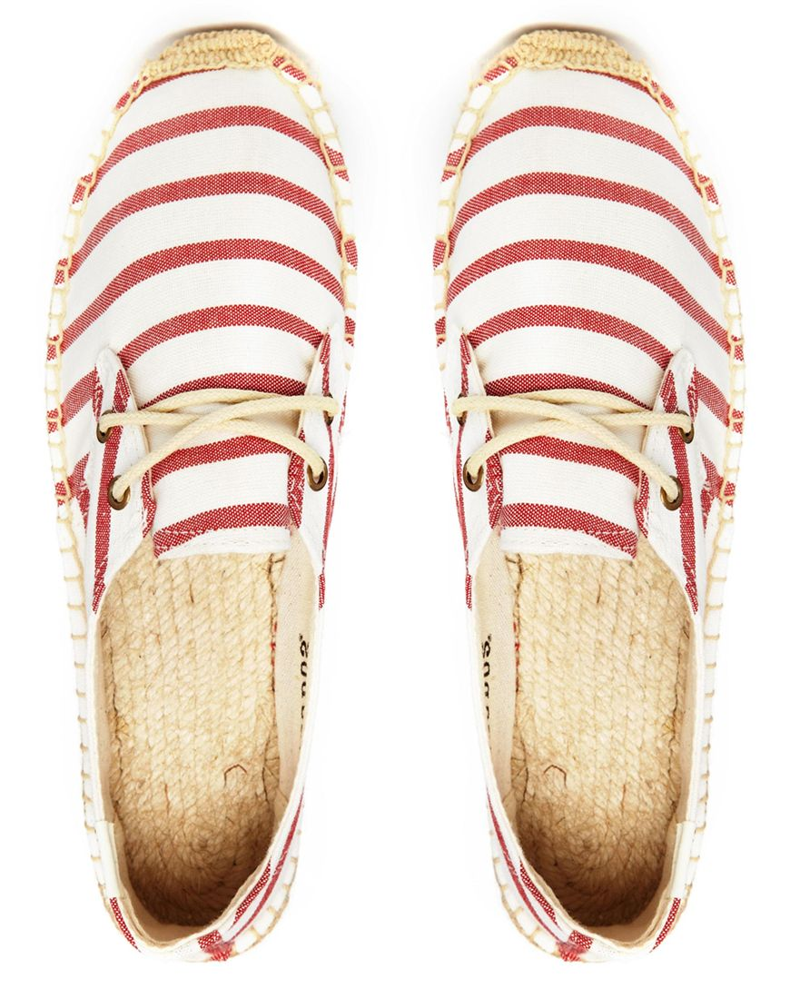 여성신발(Soludos Classic Red & White Stripe..