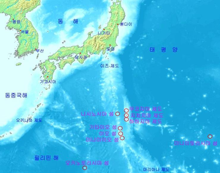 일본 최남단의 오가사와라 제도
