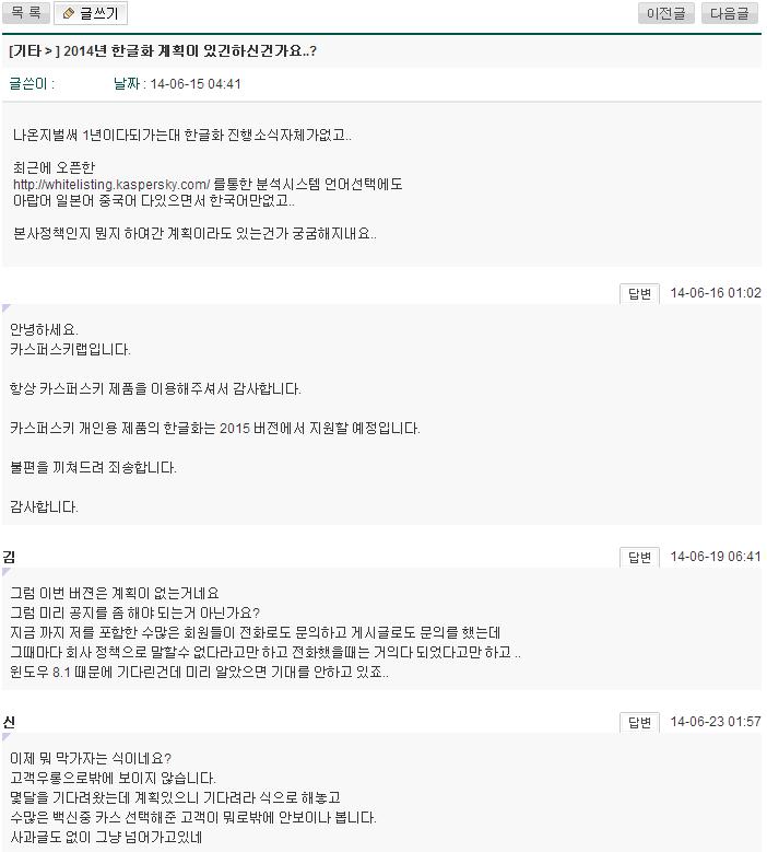 카스퍼스키랩 코리아, 카스퍼스키 2014 제품군 한국어..