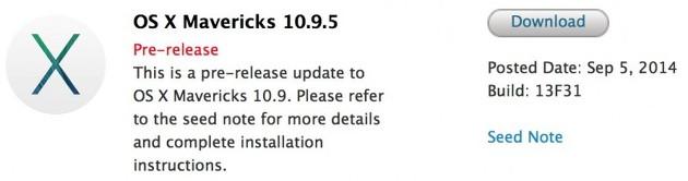 OS X Mavericks 10.9.5 beta build 13F31