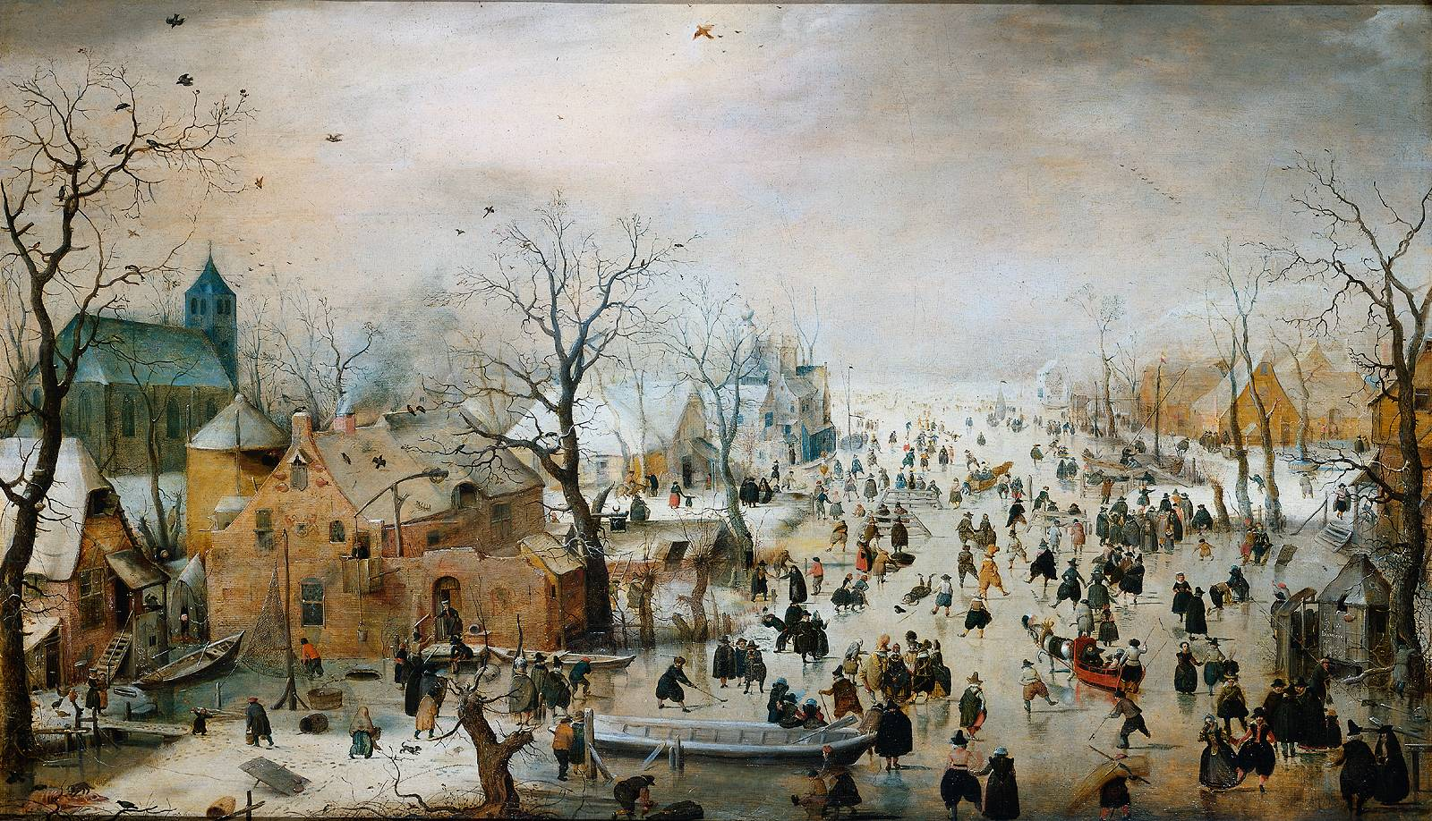 스케이트 타는 사람들이 있는 겨울 풍경