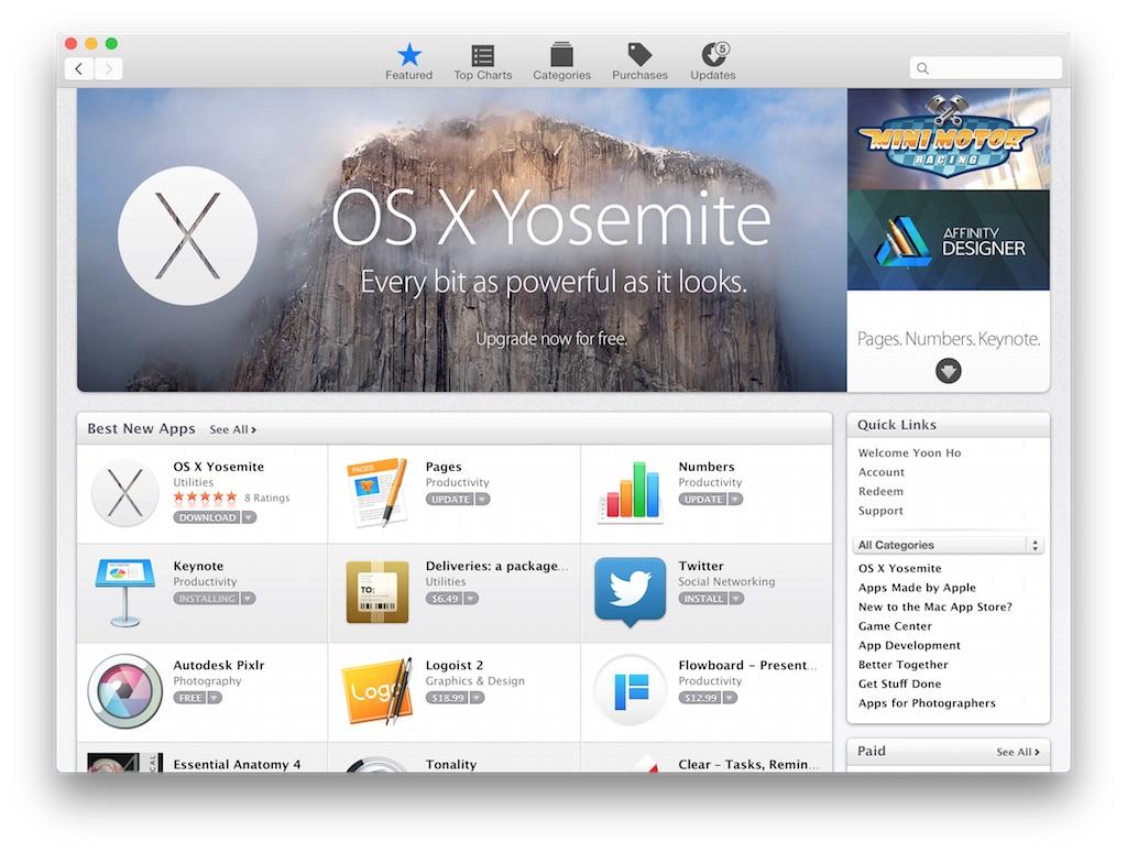 OSX 10.10 요세미티 설치했습니다.