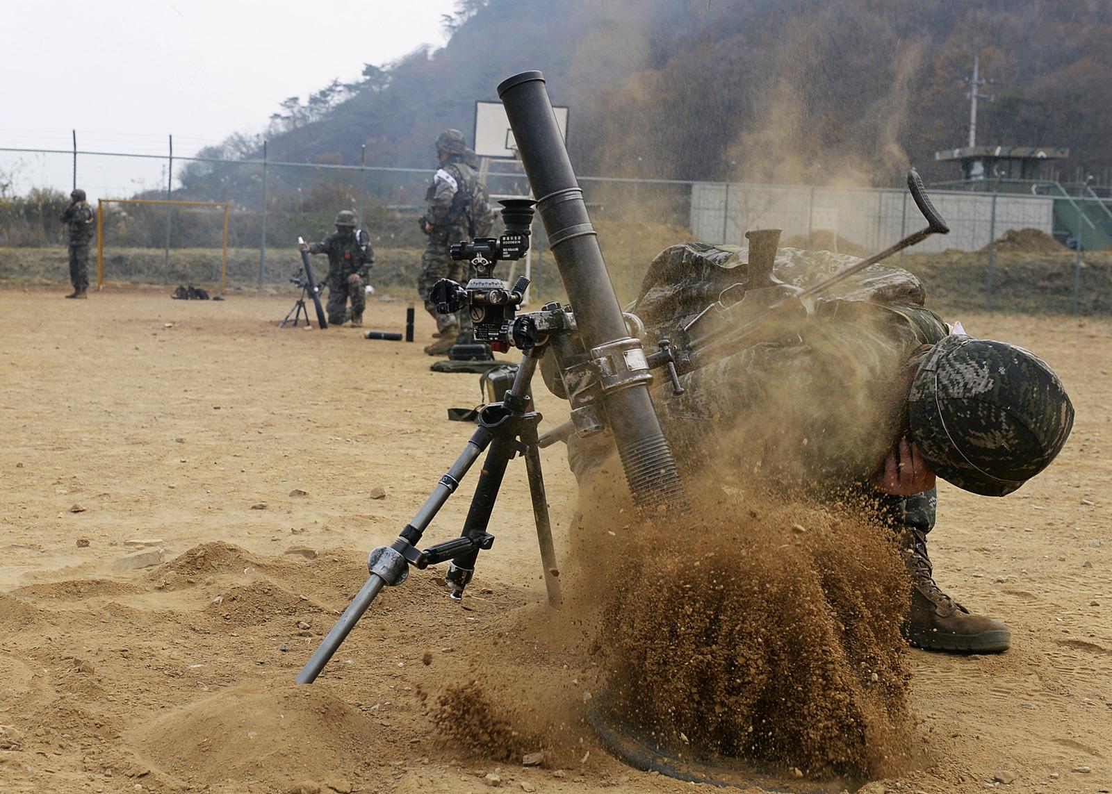 해병 연평부대 KM181 60mm 박격포 사격훈련