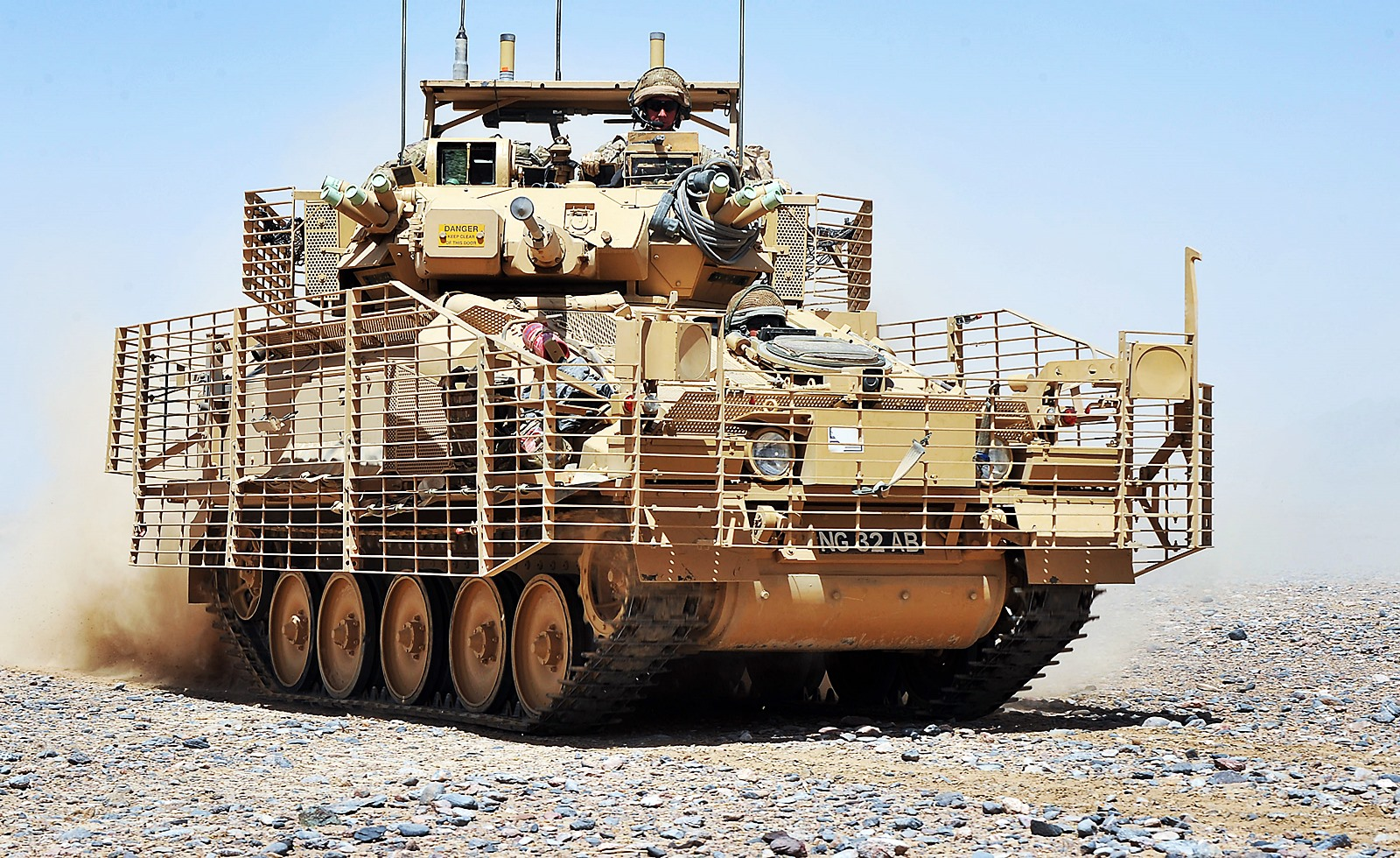 Slat 장갑을 장착한 영국육군 Scimitar Mk 2 전투..