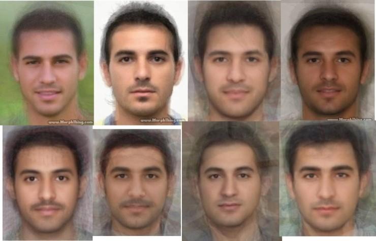 중동 지방 남성들의 평균 얼굴