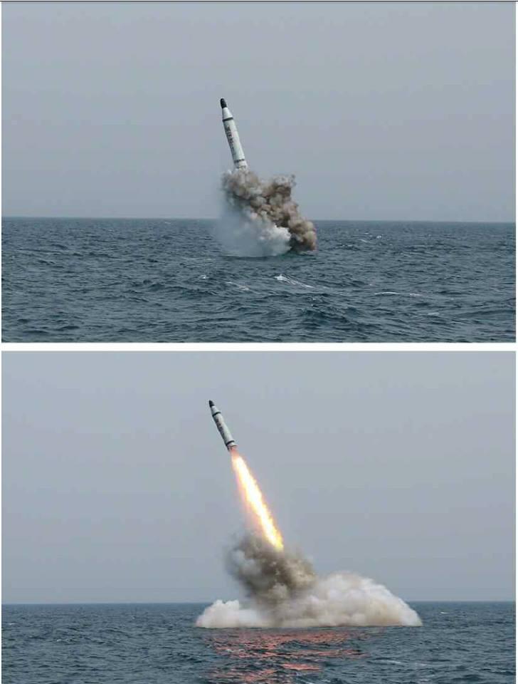 포토샵  의혹이 드는 북한 잠수함 발사 SLBM