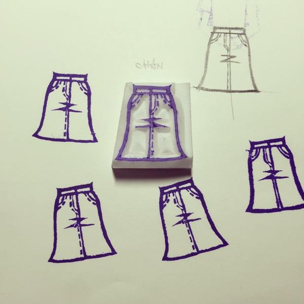 오늘의 패션 스템프 -청치마 코디네이션