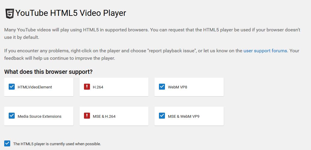 윈도우즈10, 파이어폭스에서 html5 비디오 중  H.26..
