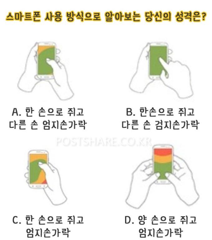 스마트폰 사용 방식으로 알아보는 당신의 성격은?