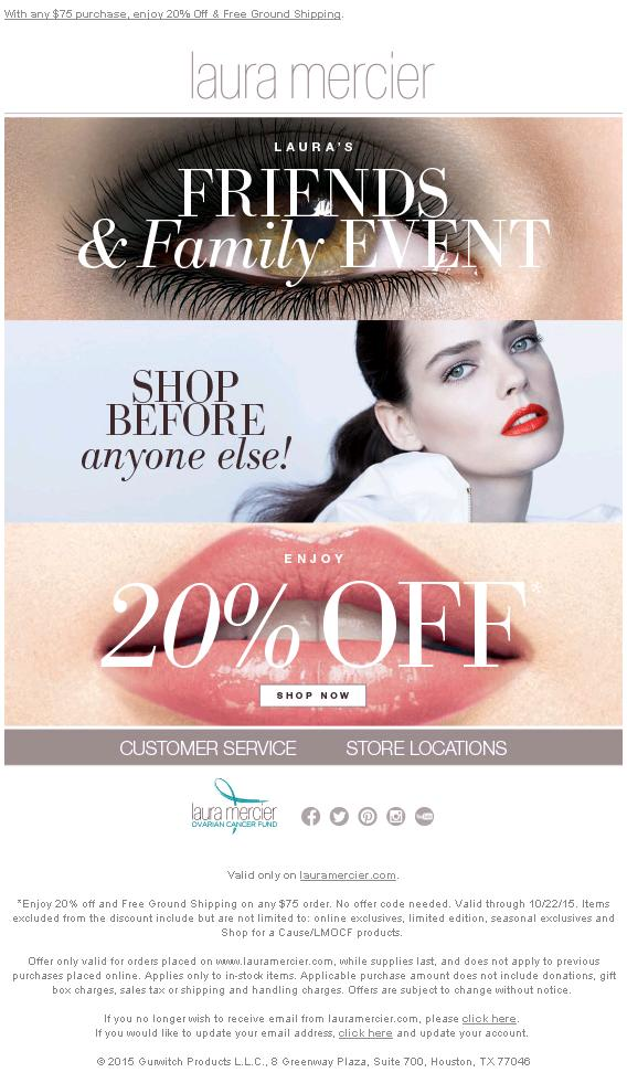 로라메르시에 Laura Mercier 20% Friends & Famil..