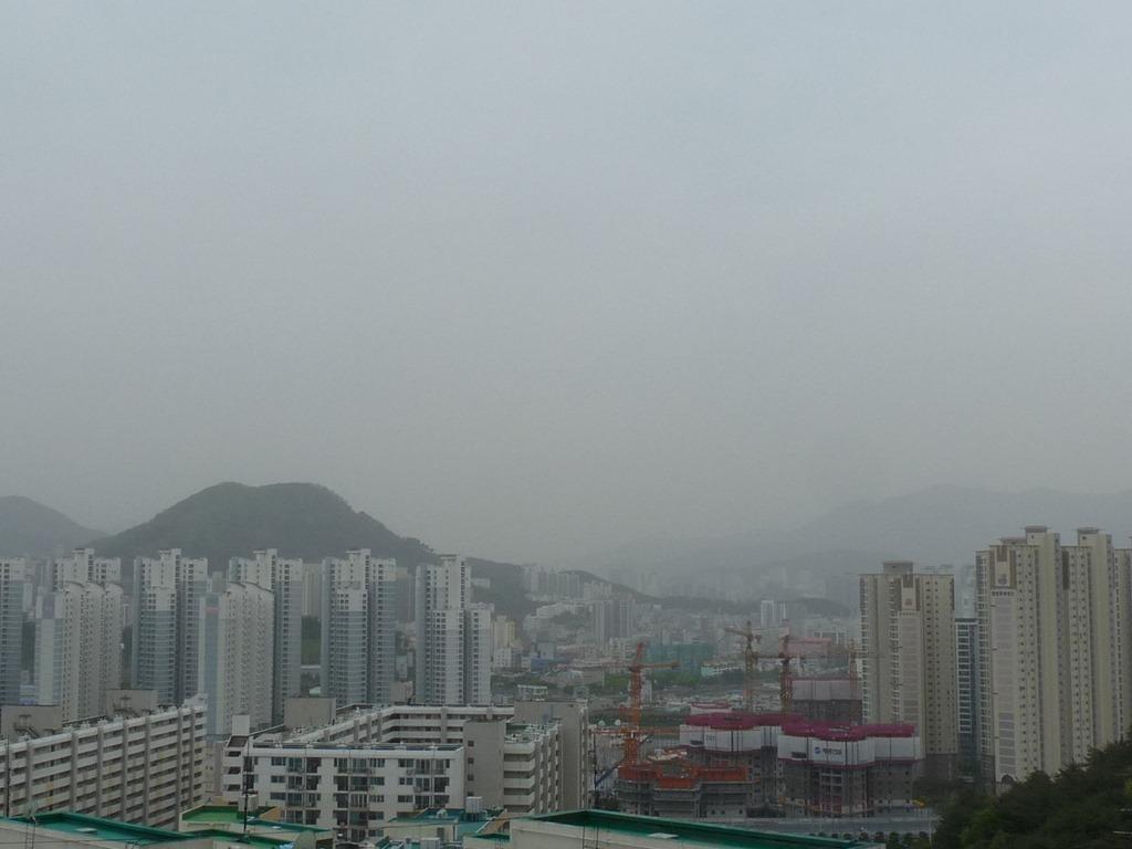 현재 부산시 모습. 이게 황사인지 미세먼지인지