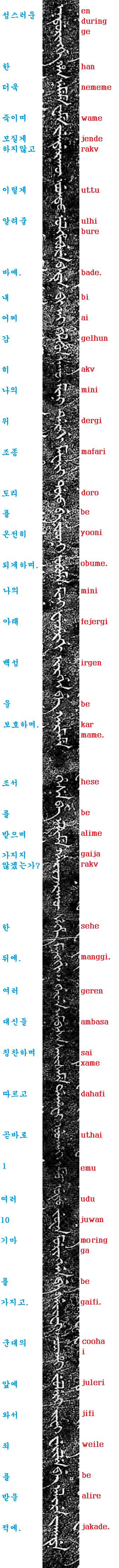 만주어 삼전도비 번역 및 쓰기 5부-내 종묘사직과 백..