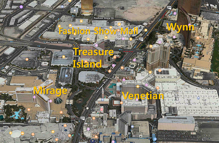 2016, Las Vegas, US - (upper) Strip; Wy..