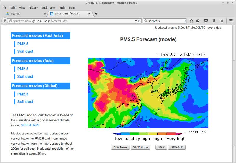 SPRINTARS - 초미세먼지(PM2.5) 예보