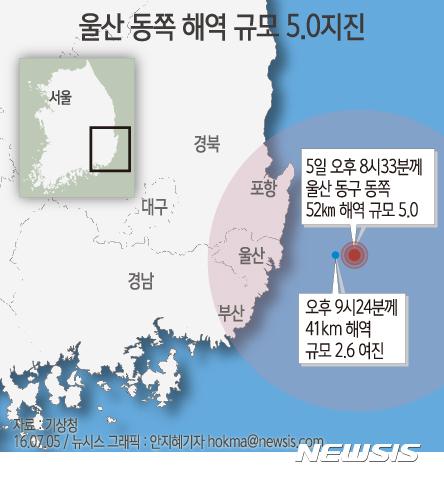 울산 5.0 지진 발생