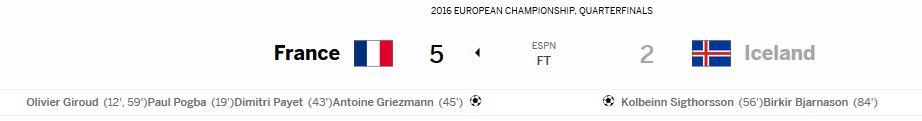 유로 2016 8강 프랑스 vs 아이슬란드