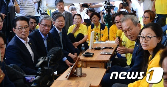 """세월호 유가족, """"야당과 '특조위 활동보장· 특.."""