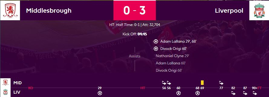 2016/17 EPL 16R 미들스브로 vs 리버풀
