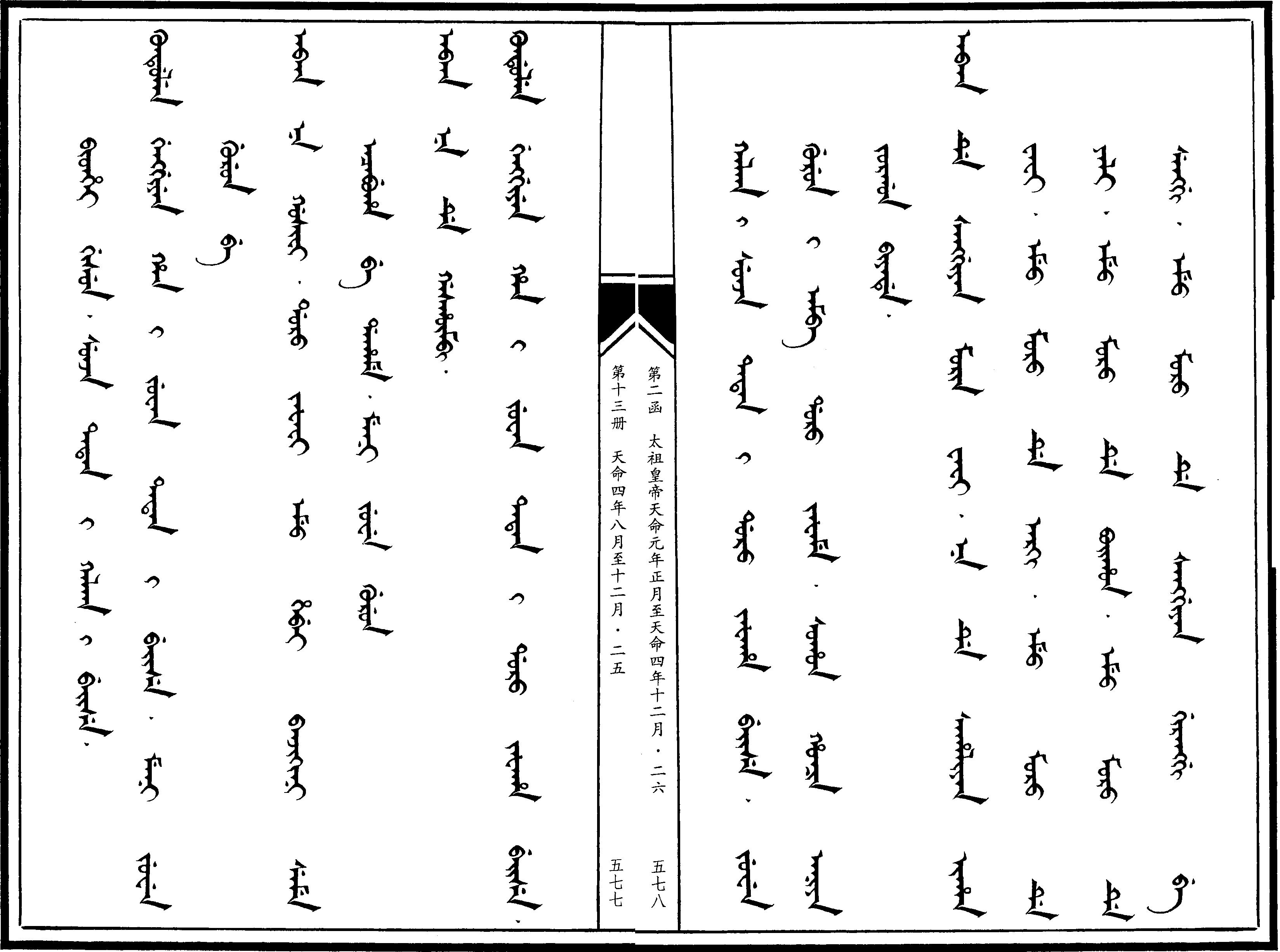 만주어 만문노당 271부-몽고 칼카5부와의 동맹을 승..