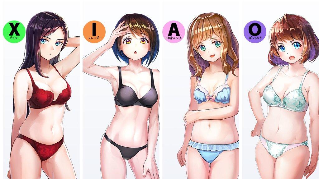여성 캐릭터의 체형을 크게 4가지로 나누어 보았다면..