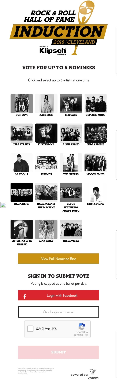 로큰롤 명예의 전당 2018 헌액 후보 공개