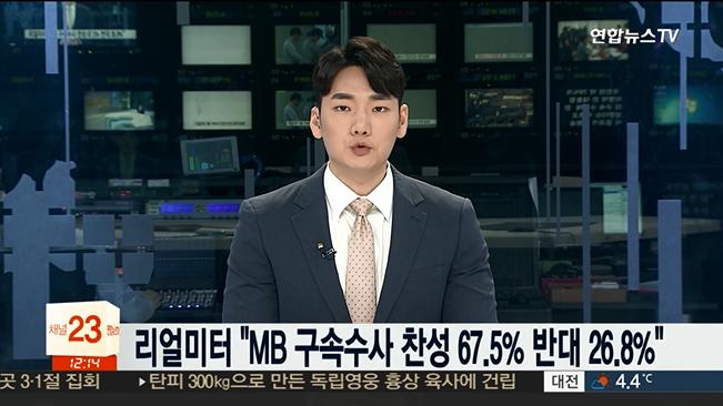 """[리얼미터] 국민 10명 중 7명 """"이명박 구속해야"""""""