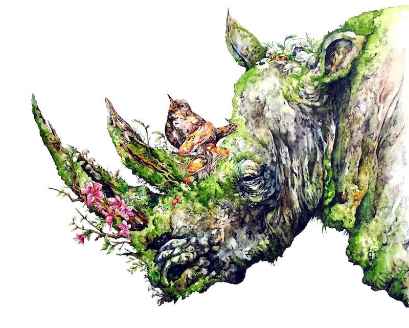 동물과 식물을 융합시킨 환상적인 분위기의 수채화..