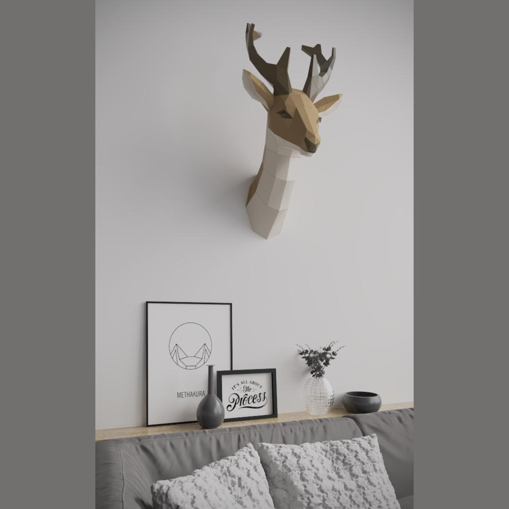 작은뿔 사슴 머리 벽걸이 장식 페이퍼크래프트
