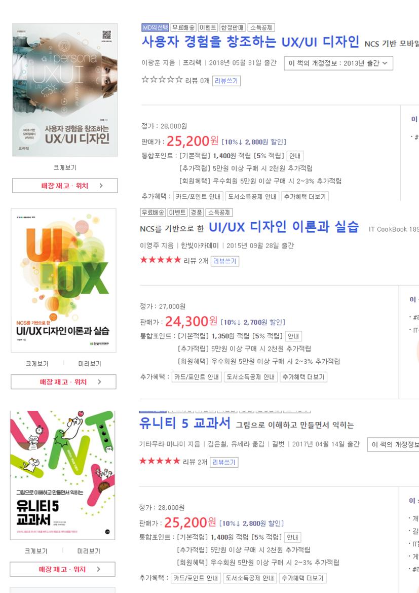 오늘 구입한 책 - UI,UX 디자인 & 유니티5