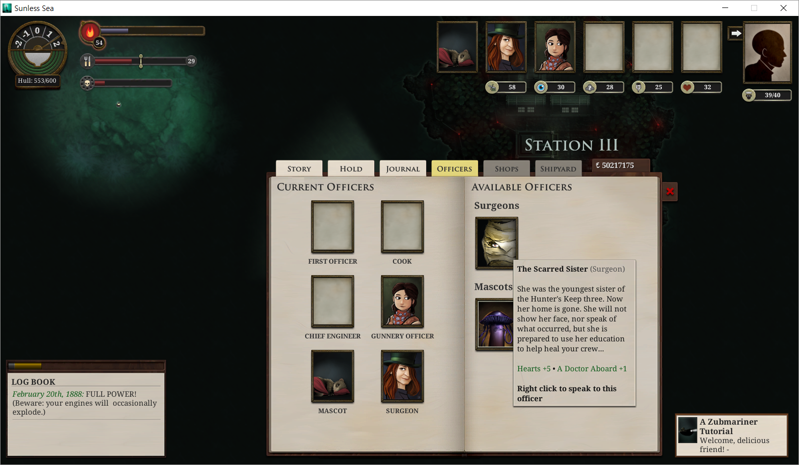 Sunless Sea 4 - 사관: Scarred Sister